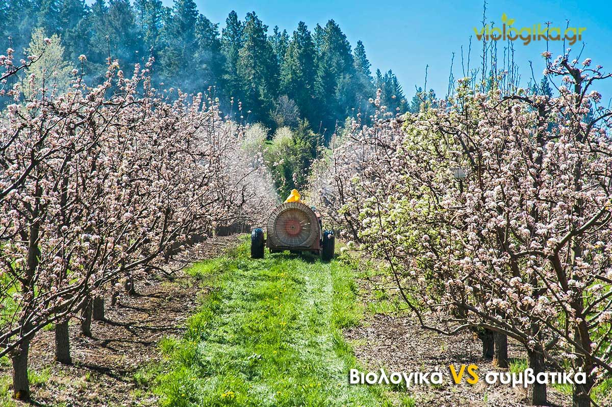 Ψέκασμα συμβατικής καλλιέργειας με εντομοκτόνο